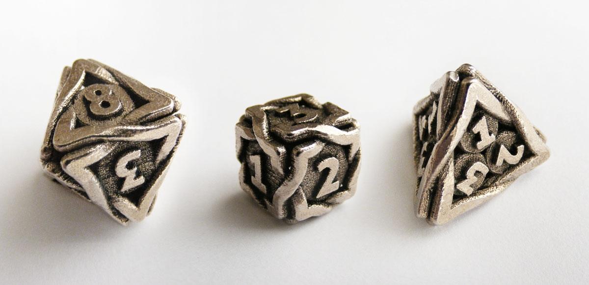 De acht-, zes- en vierzijdige dobbelsteen